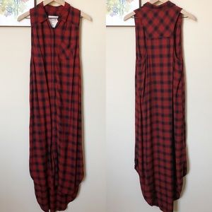 Mossimo Plaid Button Front Shirt Maxi Dress Size M